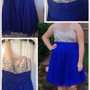 Blue and cream one strap dress